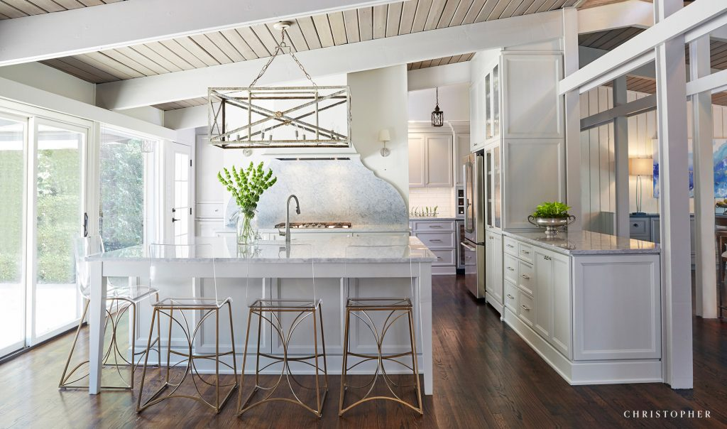 Mid Century Modern White Kitchen with Island and Butler's Pantry