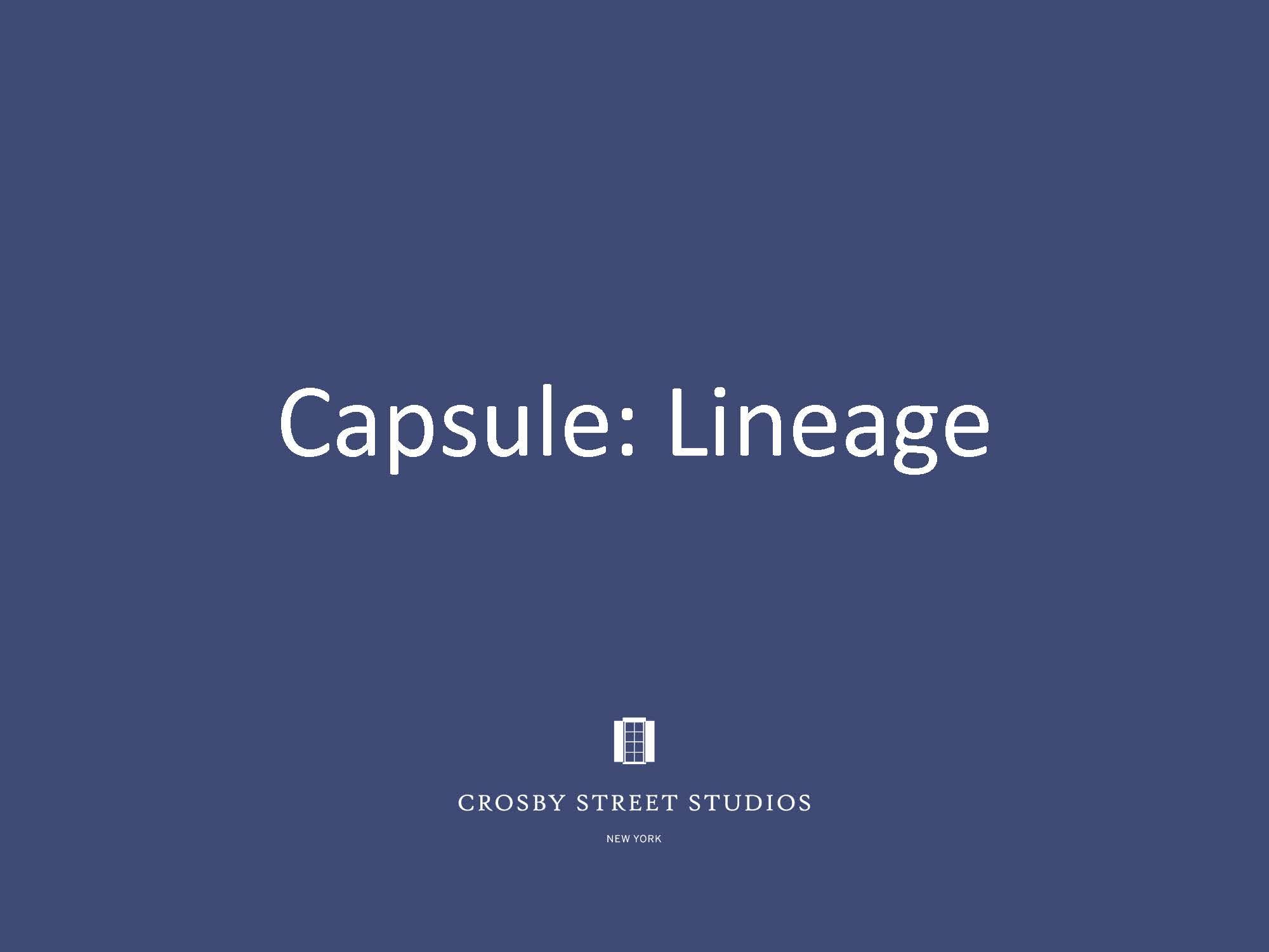 Crosby Street Studio Catalog_Capsule Lineage Cover