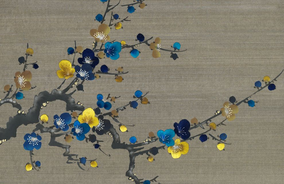 Prunus in Embroidered Bitumen colours on Beryllium Strata Silk