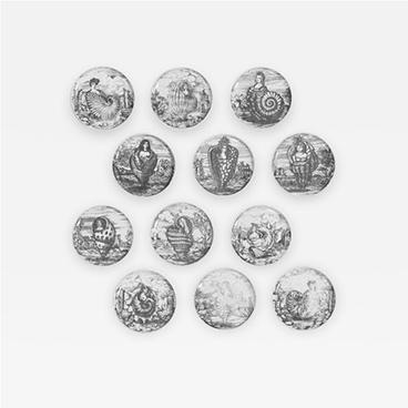 Rare Complete Set of 12 Le Oceanidi Plates by Piero Fornasetti