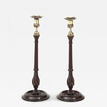 11_Mahogany and Brass Candlesticks circa 1830