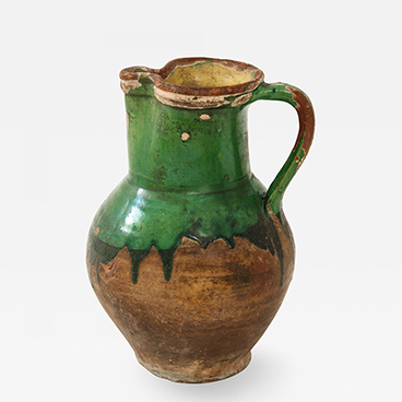 18_17th C Earthenware Pitcher with Yellow Green Glaze Friesland