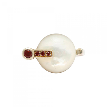 3_Modernist German Mother of Pearl and Garnet Silver Ring