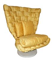 Cosulich_1970s Marzio Cecchi Italian Vintage Iconic Gold Yellow Silk Swivel Armchair Thumbnail