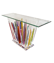 Cosulich_Rock Acrylic Multicolor Console of Abstract Design with Clear Bevelled Glass Top Thumbnail