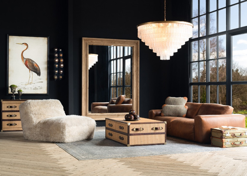 Timothy Oulton Pudgie Sofa, Shaggy Chair, Stonyhurst coffee table and chest