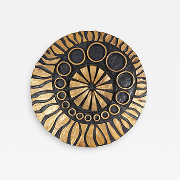 Gallery Walls 3_Charles Sucsan Whimsical gold and black ceramic wall decoration