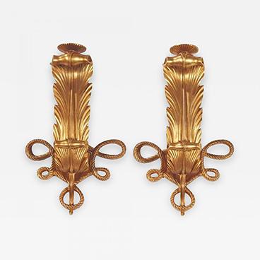 Milord Antiques 15_Rare and elegant pair of art deco gilt bronze sconces by Jules Leleu