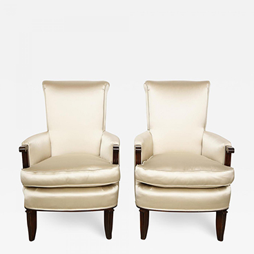 Milord Antiques 4_Jules Leleu Pair of Satin and Walnut Armchairs