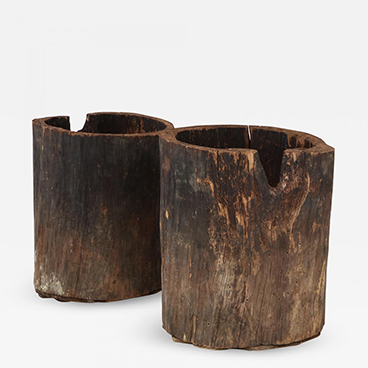 Pair of Rare Very Large French Wood Primitive Vessels Planters