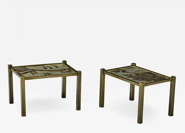 Philip and Kelvin LaVerne Pair of acid etched and patinated bronze Tao side tables Thumbnail