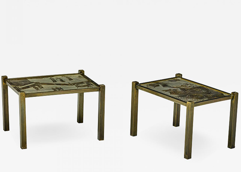 Philip and Kelvin LaVerne Pair of acid etched and patinated bronze Tao side tables_Main Image