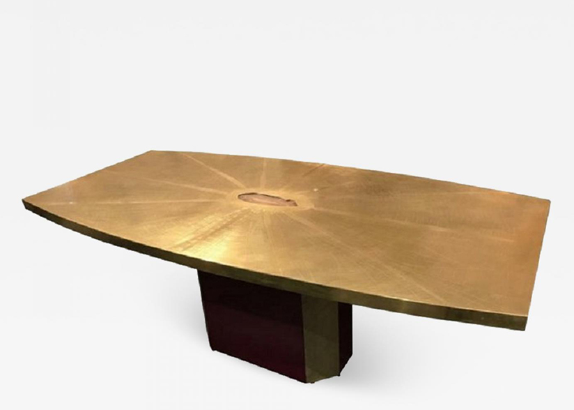 Rare and important acid etched brass dining table w agate inset by Paco Rabanne