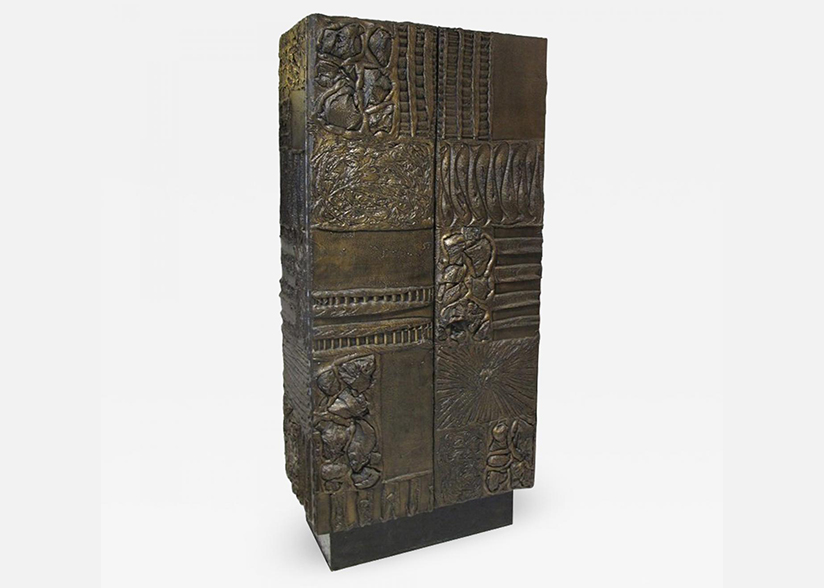 Sculpted and patinated bronze cabinet by Paul Evans