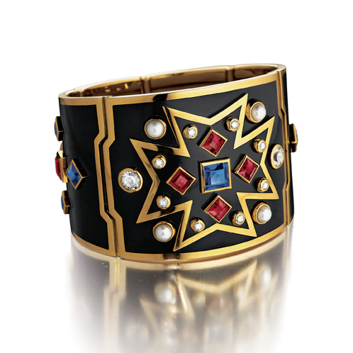 Verdura-Chevalier-Cuff-Black-Enamel-Sapphire-Ruby-2008-for website