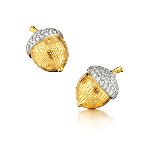 Verdura-Jewelry-Acorn-Earclips-Gold-Diamond