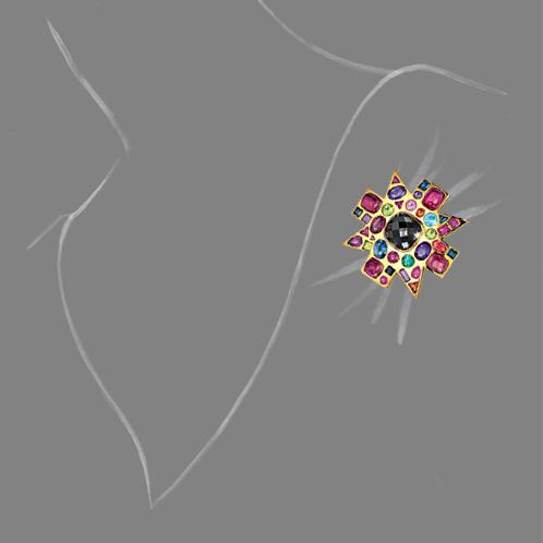Verdura-Jewelry-Byzantine-Brooch-Black-Spinel-Scale-Rendering