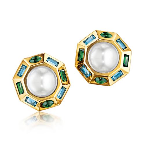 Verdura-Jewelry-Byzantine-Earclips-Gold-Pearl-Tourmaline-Blue-Topaz