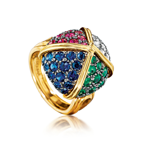 Verdura-Jewelry-Byzantine-Sugarloaf-Ring-Gold-Emerald-Sapphire-Ruby-Diamond-FRONT