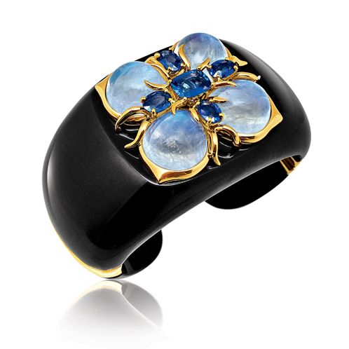 Verdura-Jewelry-Dogwood-Cuff-Black-Jade-Moonstone-Sapphire-Gold
