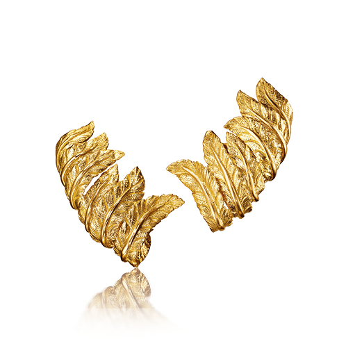 Verdura-Jewelry-Feather-Cuff-Earclips-Gold