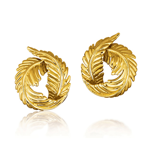 Verdura-Jewelry-Feather-Earclips-Gold
