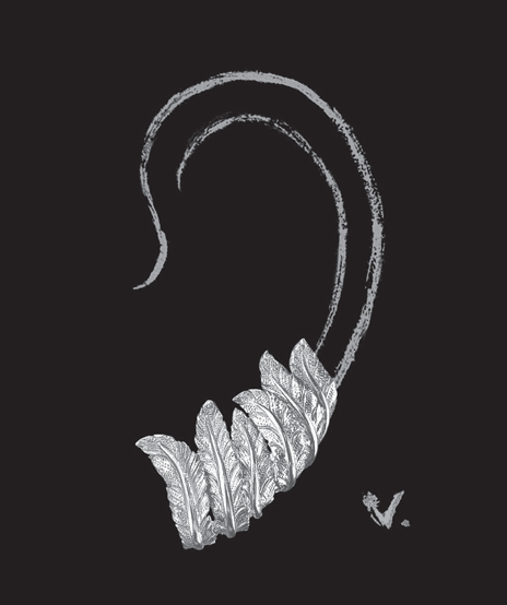 Verdura-Jewelry-Feather-Earclips-Sketch