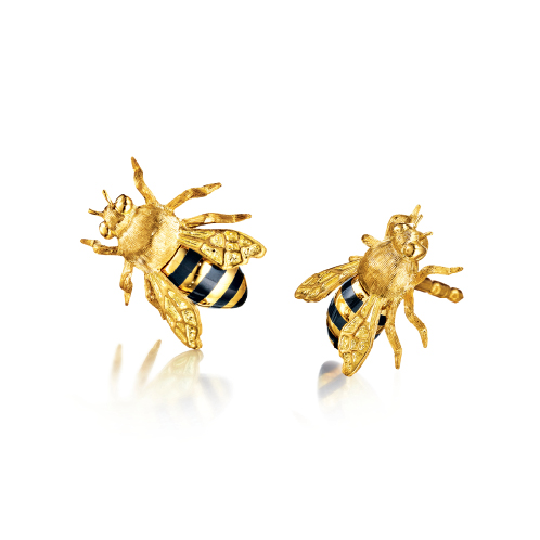 Verdura-Jewelry-Honeybee-Earstuds-Gold-Enamel