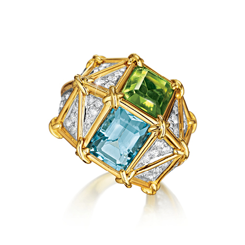 Verdura-Jewelry-Kaleidoscope-Ring-Gold-Diamond-Aquamarine-Peridot-FRONT