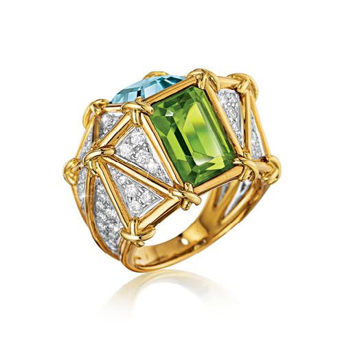 Verdura-Jewelry-Kaleidoscope-Ring-Gold-Diamond-Aquamarine-Peridot-SIDE