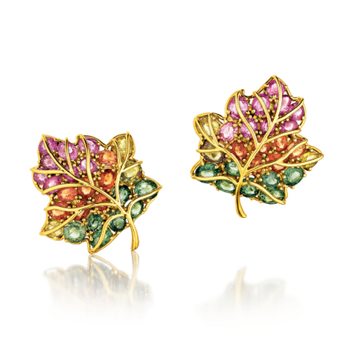 Verdura-Jewelry-Leaf-Earclips-Gold-Sapphire