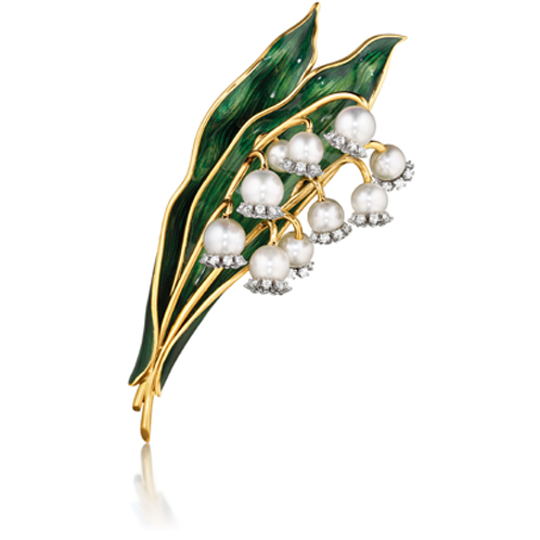Verdura-Jewelry-Lily-of-the-Valley-Brooch-Gold-Pearl-Diamond-Enamel