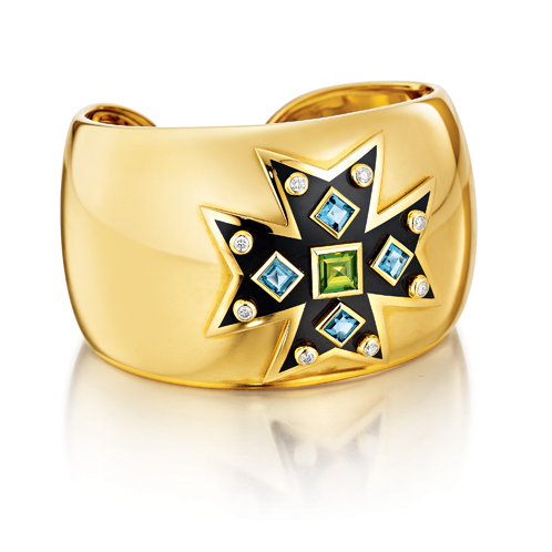 Verdura-Jewelry-Maltese-Cross-Cuff-Gold-Peridot-Blue-Topaz-Enamel