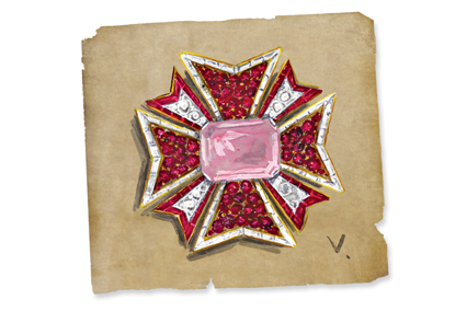 Verdura-Jewelry-Maltese-Cross-Sketch-Landscape