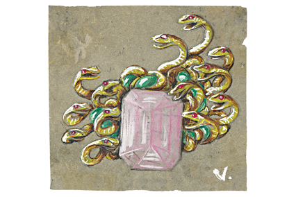 Verdura-Jewelry-Medusa-Brooch-Sketch