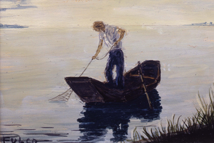 Verdura-Jewelry-Miniature-Painting-P022-Fisherman-and-Net-Landscape
