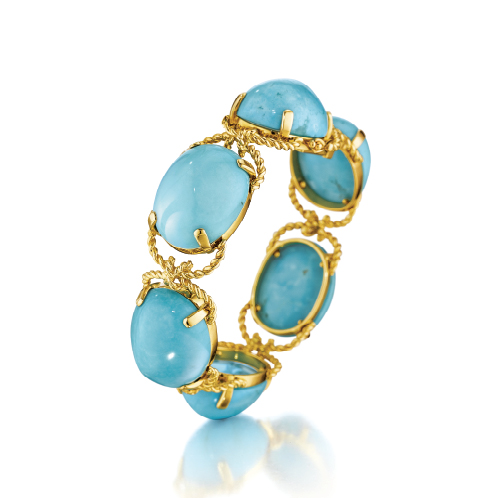 Verdura-Jewelry-Pebble-Bracelet-Gold-Turquoise
