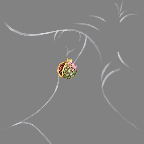 Verdura-Jewelry-Pomegranate-Earclips-Scale-Rendering
