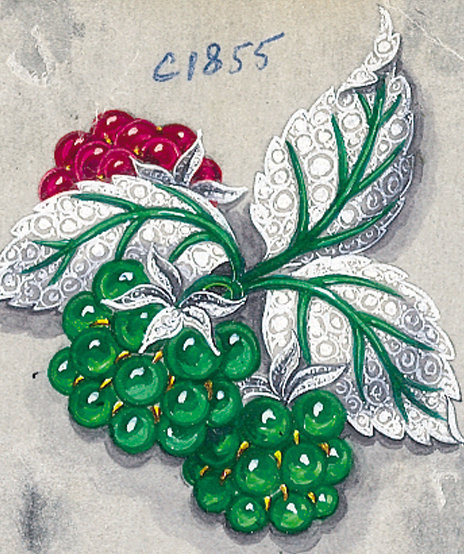 Verdura-Jewelry-Raspberry-Brooch-Sketch-C30-Portrait
