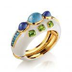 Verdura-Jewelry-Ravenna-Cuff-Gold-Aquamarine-Tanzanite-Peridot-Blue-Topaz-Enamel-150x150