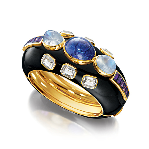 Verdura-Jewelry-Ravenna-Cuff-Gold-Tanzanite-Moonstone-White-Topaz-Amethyst-Enamel