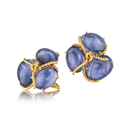 Verdura-Jewelry-Rope-Cluster-Earclips-Iolite-Gold