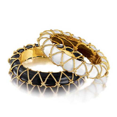 Verdura-Jewelry-Rope-Net-Bangles-Black-Jade-Cocholong-Gold