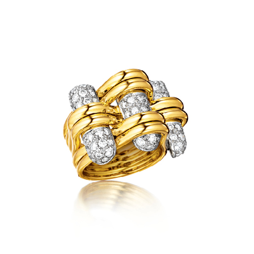 Verdura-Jewelry-Trio-Ring-Gold-Diamond