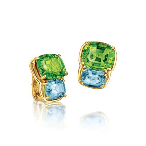 Verdura-Jewelry-Two-Stone-Earclips-Gold-Peridot-Blue-Topaz