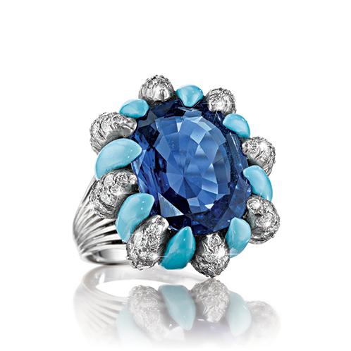 Verdura-Jewelry-Vintage-Raja-Ring-Ceylon Sapphire-Turquoise