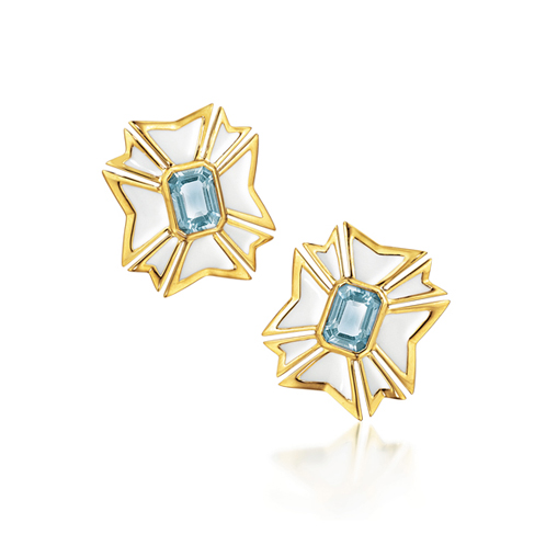 Verdura-Jewelry-Maltese-Cross-Earclips-Gold-Aquamarine-Enamel