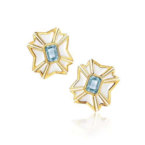 Verdura-Jewelry-Maltese-Cross-Earclips-Gold-Aquamarine-Enamel