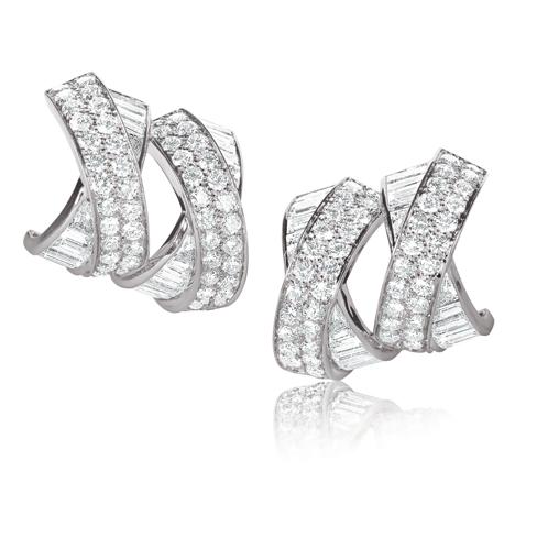Verdura-Jewelry-Double-X-Earclips-Diamond
