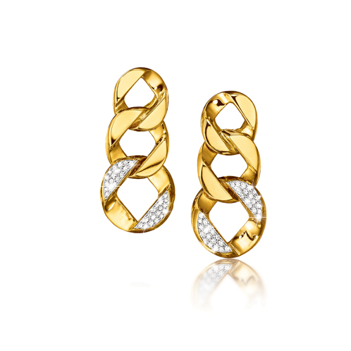 Curb-Link Pendant Earclips - diamond link REV 20